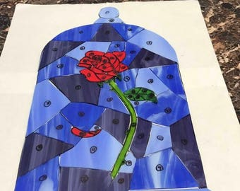 Stained Glass Beauty and the Beast Rose