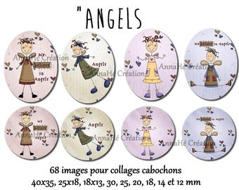 "Digital images for cabochon jewelry ""Angels"" collage"