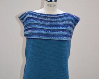 "The top ""Reversible tunic"" knitted kallline Handmade wool superwash blue-grey"