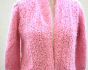 """""""Roman"""" hand knitted Cardigan, original creation by Kallline dot lace, soft and lightweight pure Angora"""