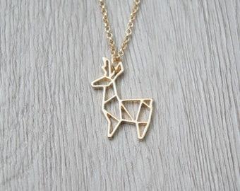So origami - Golden reindeer pendant necklace