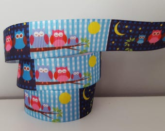 1 meter of Ribbon grosgrain owls day and night owls