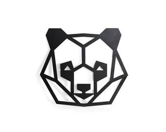 Geometric panda bear, animal wall art, room decor, woodland nursery, scandinavian kids room decor, laser cut animal head, nursery decor