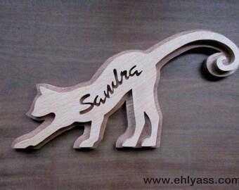 Sculpture wood cat 4 customizable name (fretwork)