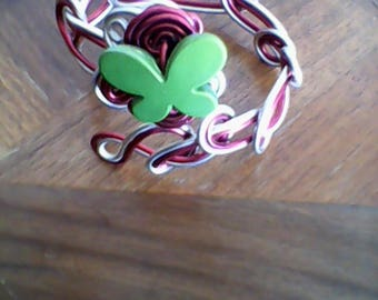 aluminum 2mm red and silver wire handmade bracelet, adorned with a Green Butterfly.