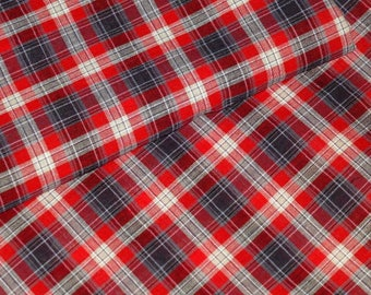 Red and Black 100% cotton plaid fabric