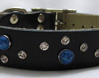 Handmade Leather Dog Collar with Turquoise Rivets