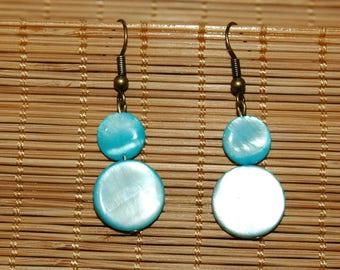 Blue Pearl stone earrings