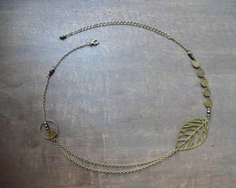 Bronze leaf headband with black hematite Czech glass faceted beads