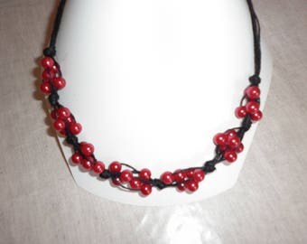 Black linen and Red pearl beads necklace