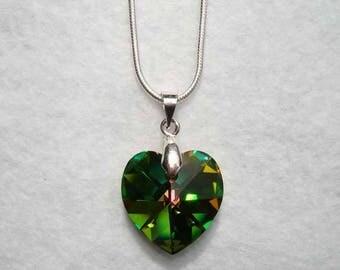 Blue green heart pendant