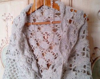 crochet shawl wool-wool handmade bride stole reason fans romantic style vintage