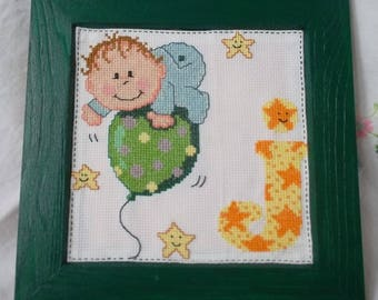 """Wood frame with embroidered """"J"""" baby alphabet"""