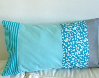 """""""Blue of the South seas"""" pillow cover, made of 4 parts of Japanese fabrics."""
