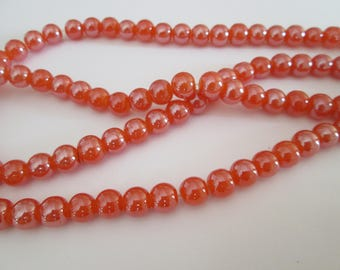 8 mm 20 perles rondes en verre orange brillant diamètre 8 mm