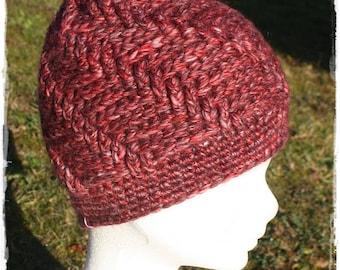 Beanie hat crochet shades of Burgundy.