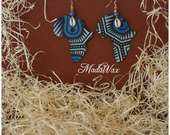 Earrings shaped map of Africa wax fabric