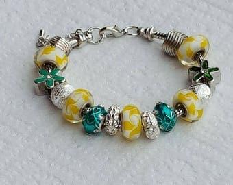 murano Burlesque/money/pandora/glass/crystal/enamel/green/yellow/flower/jewelry/unique/charm European/gift/woman/chic style Pearl Bracelet: