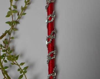 Pen for guestbook - red and silver rhinestones