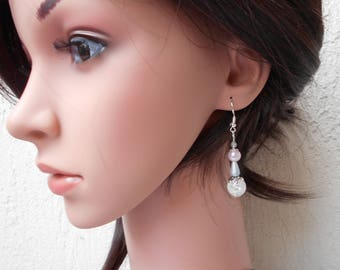 Earrings - elegant grey and pale pink