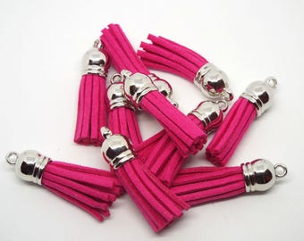 Small Hot Pink Suede Tassel Charm 38mm Pack of 5