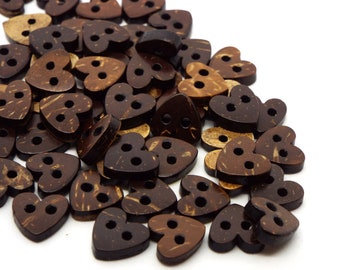 Heart Coconut 2 Hole Buttons 10mm, Coconut Shell Buttons