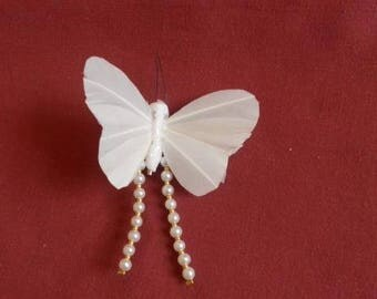 White wire metal Butterfly brooch