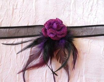 "Purple flower ""wedding procession"" Ribbon necklace"