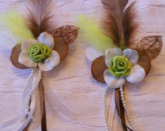 Wedding chocolate color hair clip / lime green