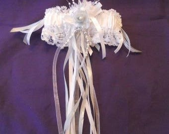 Gray and white bridal garter