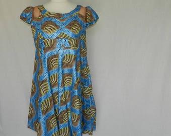 "Oval ""falneur"" dress knee length one size cotton retro fabric Sheen size 40/42 unique"