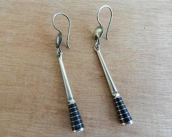 Black ebony wood Tuareg ethnic long earring & inlay