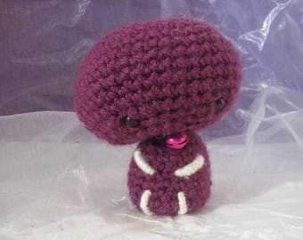 Amigurumi little plum snowman and his Bell
