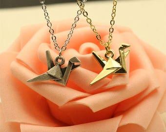 Origami Style Crane Pendant necklace