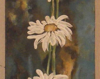 Painting on wood and its beautiful daisies