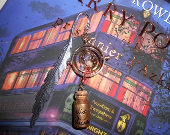 "Bookmark inspired Harry Potter time Turner and bottle ""Felix Félicis"""