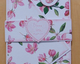 "card mother's day floral pink and white 3 ply message ""Happy mother's day"" bird"