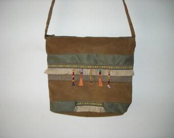 handmade shoulder bag, ethnic, patchwork of materials, customized original