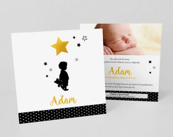 Lot de Faire-part de naissance/baptême, Fille ou Garçon sous les étoiles - Modèle Adam ou Jade