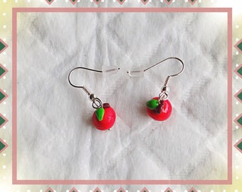 Red Apple painted with his tail and leaf mounted on silver plated earrings