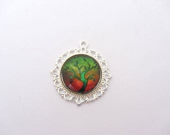 Tree on green and red glass pendant