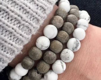 Graywood and Howlite Stackable set of 3