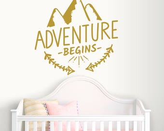Adventure Begins Wall Decals-Mountain Wall Decals-Dorm Decor-Adventure Vinyl Decal-Mountains Wall Murals Bedroom-Lettering Vinyl Wall Decal