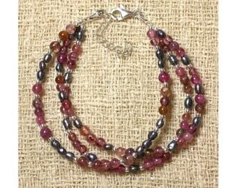 Tourmaline pink - black cultured pearl bracelet and 925