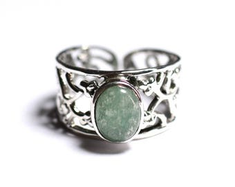 N224 - 925 sterling silver and stone - Aventurine ring green oval 9x7mm