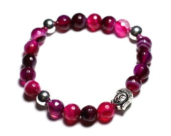 Gemstone - Agate Rose Facettee and Buddha bracelet