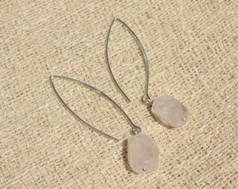 Stone - faceted Nuggets 12mm Rose Quartz and 925 Sterling Silver earrings