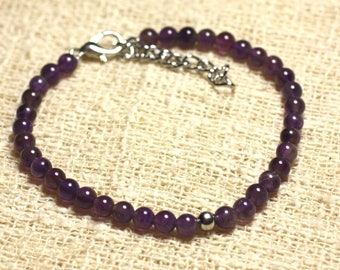 Bracelet 925 sterling silver and semi precious amethyst 4 mm