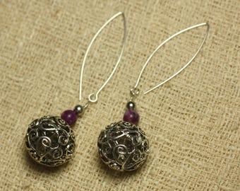 Earrings 925 sterling silver Pearl Rhodium and Sugilite