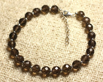 Bracelet 925 sterling silver and stone - 6mm faceted smoky Quartz